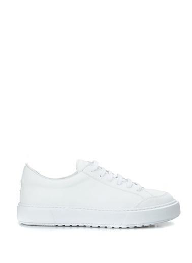 Outpost Outpost Havuz nlı Yuvarlak Burun Bağcıklı Logolu Kadın Deri Sneakers Ayakkabı Beyaz